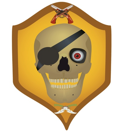 Skull with the crossed pistols and knifes, file EPS.8 illustration. Vector