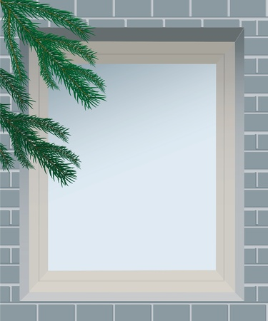 pane: Spruce branches against the window in brick wall, file EPS.8 illustration.