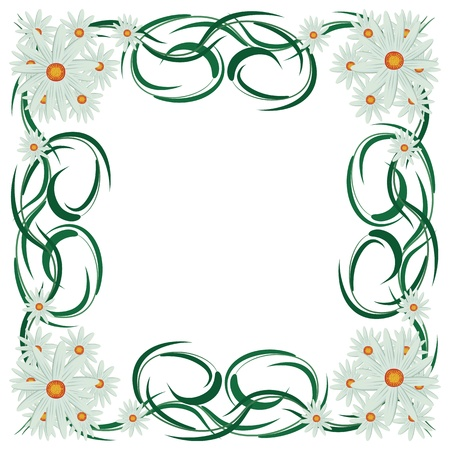 fancy border: Abstract floral frame with daisies, illustration.