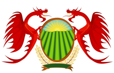 Heraldry, red dragons holding a shield  Vector