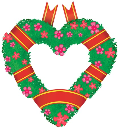 Wreath in the shape of a heart, vector illustration EPS8  Vector