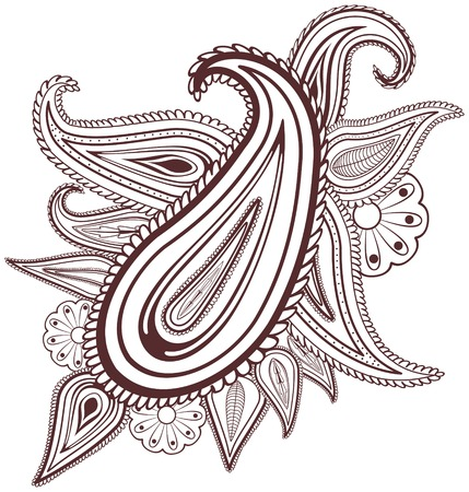 Paisley flowers mehndi design-abstract, EPS8 - vector graphics  Vector