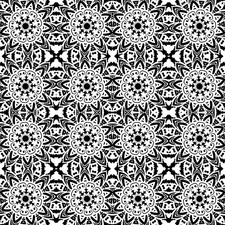 black white: Arabic style black and white seamless pattern Illustration