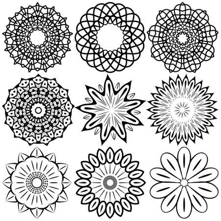 eps8: Set modern design round and floral pattern, EPS8 - vector graphics.