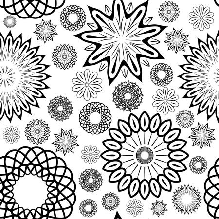 eps8: Black and white floral seamless ornament, EPS8 - vector graphics.
