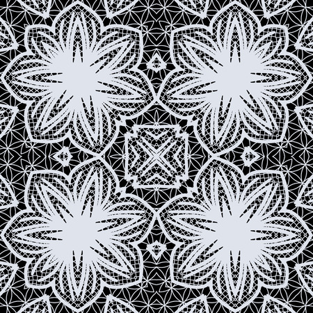 openwork: Black and white floral openwork seamless ornament Illustration