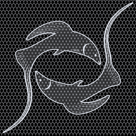 openwork: Black and white fish openwork seamless pattern