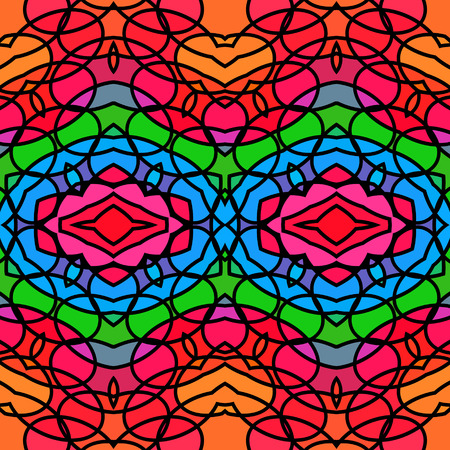 brightly: Brightly colourful stained-glass style abstract imitation seamless background, - vector graphics.