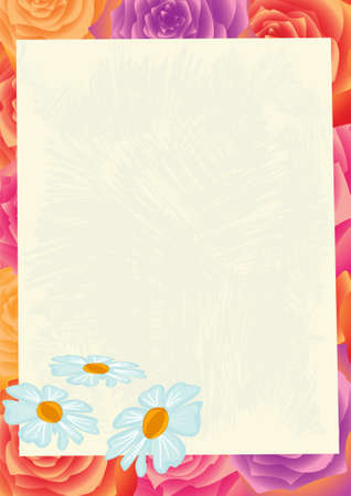 abloom: Sheet of paper on a flower background Illustration