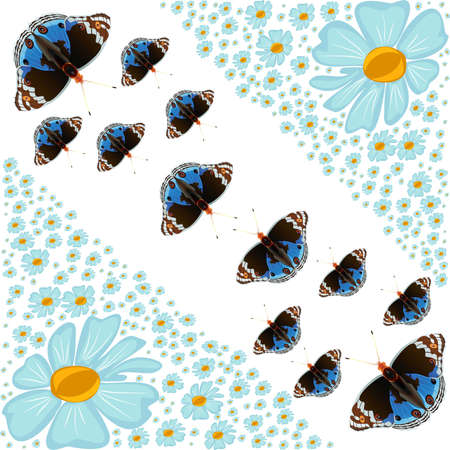 beautify: Abstract flowers and butterflies Illustration