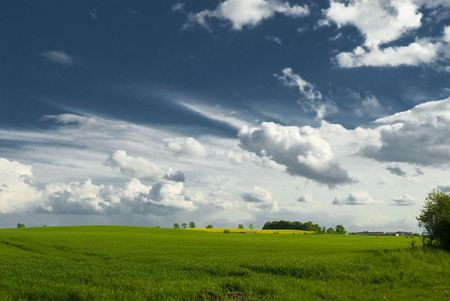 landscape whit blue sky and green hill in Poland Stock Photo