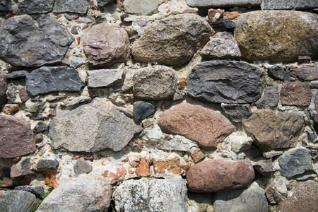 redbrick: old bricks fortification background red whit stone Stock Photo