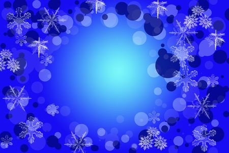 Christmas snow blue frame background with snowflakes photo