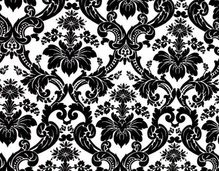 damask: Monochrome seamless damask pattern. Nice to use as background.