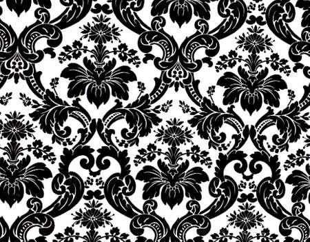 Monochrome seamless damask pattern. Nice to use as background. Stock Photo - 4895460
