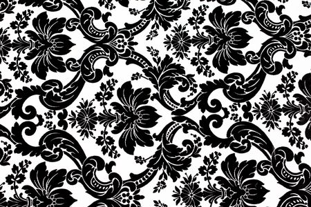 Monochrome seamless damask pattern. Nice to use as background.
