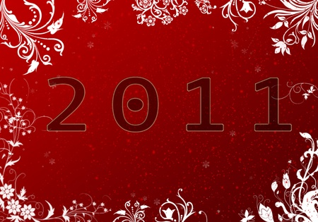 Happy new year card in red  background, very nice cool and modern photo