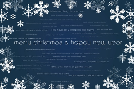 Happy new year and merry christmas card in world languages and sparkling stars background photo