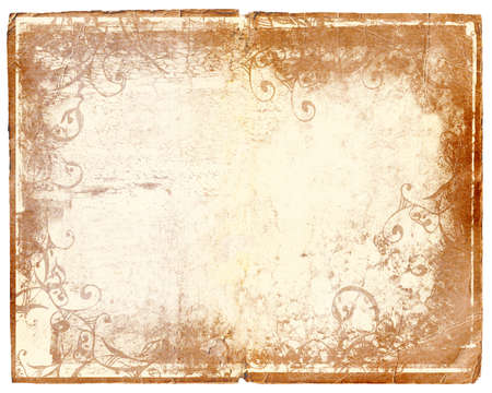 pale damaged edge book page with grunge texture and layers of designs Stock Photo