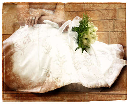 pale damaged border book page with grunge texture and bride in white dress holding flowers