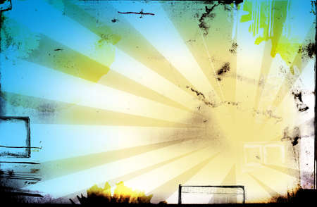 Grunge page design with lots of design elements, black border, wet stains and abstract rays