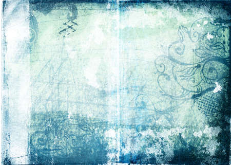 grimy: Grunge paper background with scratches, designs, torn patches and burnt border