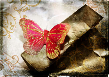 burnt edges: grunge illustration of red butterfly on textured background