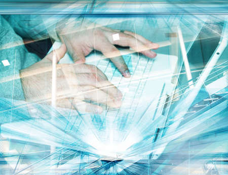 Illustration of man�s hands on the white keyboard and grunge blue background Stock Illustration - 884339