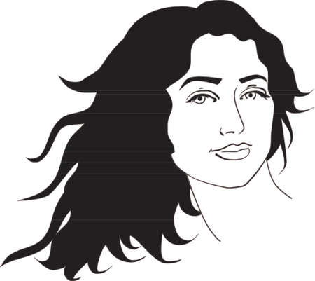 Vector illustration of beautiful woman with long black curly hair