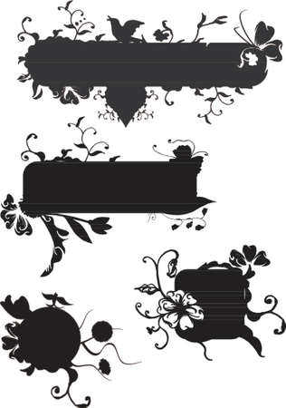 vector banners: Vector grunge banners with swirls and scrolls, floral and plants elements