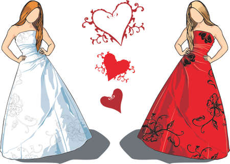 Bride with long brown hair in white dress with floral embroidery and an option for same dress in red on blond hair model.  Vector
