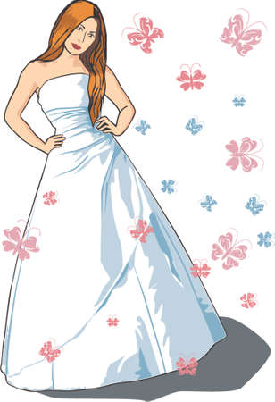 Beautiful vector bride with long brown hair in sleeveless dress and butterflies, dress colour can be changed for evening dress Vector