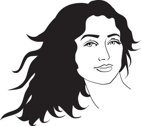 illustration of beautiful woman with long black curly hair  illustration