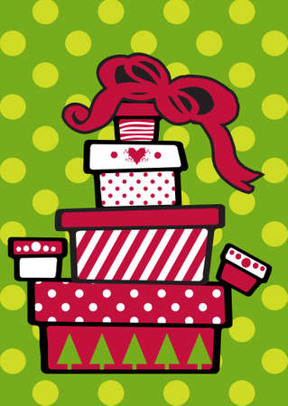 Gift Christmas boxes stacked on top of each other on festive green background photo