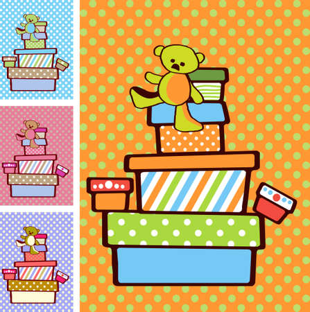 Gift boxes stacked on top of each other on festive bright background in variety of colours for boy and girl option photo