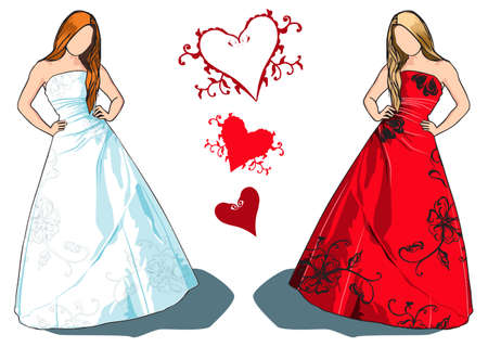 sleeveless: Bride with long brown hair in white dress with floral embroidery and an option for same dress in red on blond hair model.