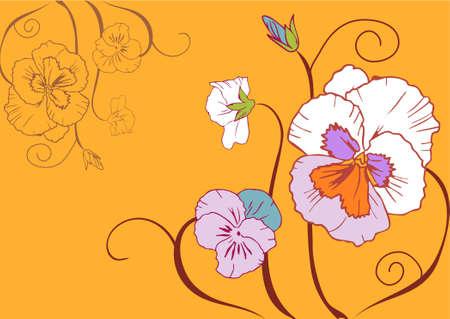 simplistic: Flowers simplistic illustration on yellow background