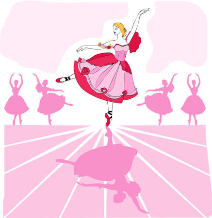 recital: Ballet dancer in pink  tutu on stage with a line of dancers in background Stock Photo
