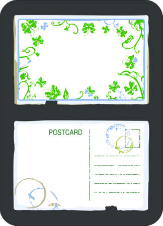 notecard: Vintage green floral swirls and butterfly postcard front and back with space for text