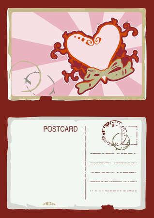 Grunge illustration of vintage postcard with floral heart design  front and back Stock Illustration - 2139020