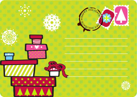 mailer: Christmas fun postcard with snowflakes, polka dot and gift boxes stacked. Seals, stamps and copy space in format