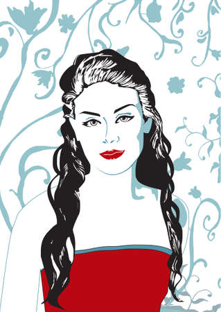 grey hair:  illustration of pretty woman with long black curly hair in red tops and with red lips.