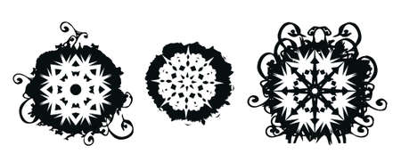 Grunge snowflakes brush designs with floral swirls and scrolls elements made from my brushes and designs photo
