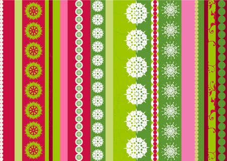 Bright stripes Christmas background with snowflakes elements - illustration illustration