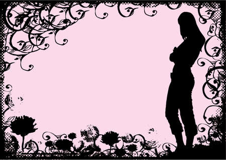 woman standing on grunge background of halftone border, flowers and swirls %uFFFD from my designs and photos