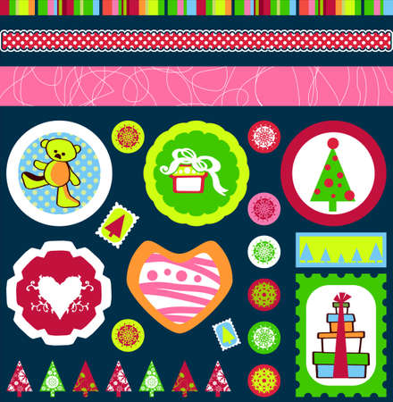 Christmas tags, buttons and labels with gifts, snowflakes, Christmas trees and teddy bear designs in format photo
