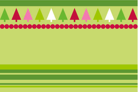 simplistic: Christmas trees design with simplistic retro shapes on stripes and dots pattern