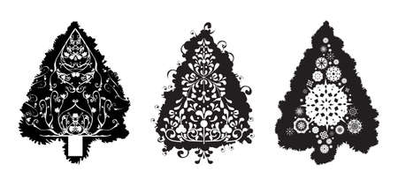 Grunge Christmas tree set with swirls, floral designs and snowflakes photo