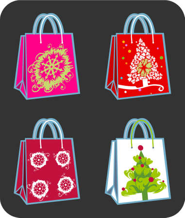 Four shopping bags illustration with Christmas tree and snowflakes ornaments Stock Illustration - 2139030