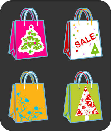Four shopping bags illustration with Christmas tree, swirl ornaments and sale sign illustration